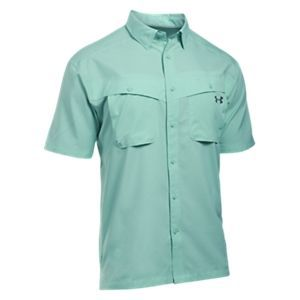 Under Armour Tide Chaser Short-Sleeve Fishing Shirt for Men - Mint/Rhino Gray - 2XL