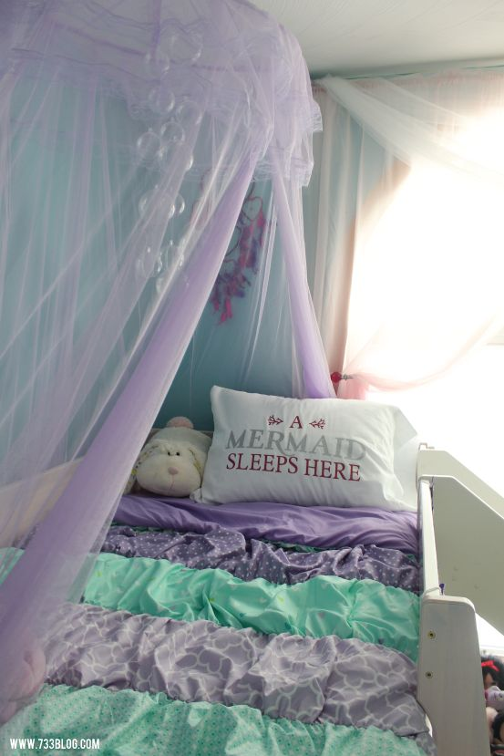 Little Girlu0027s Mermaid Themed Room With Tons Of DIY Projects And Ideas