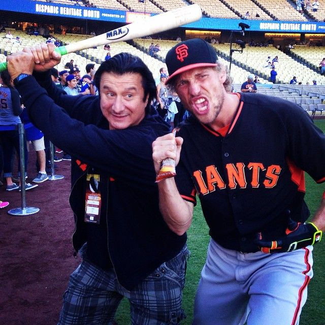 Steve Perry & Hunter Pence at Dodger Stadium for the Dodgers/Giants game 9-24-14.