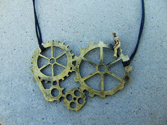 Steampunk Necklace, Gear Jewelry, Steampunk Jewelry, Cog Necklace, Industrial Necklace,Statement Necklace,Mechanical Gift,Modern Times Movie