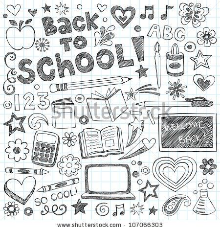 stock vector : Back to School Supplies Sketchy Notebook Doodles with Lettering, Shooting Stars, and Swirls- Hand-Drawn Vector Illustration Design Elements on Lined Sketchbook Paper Background