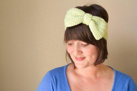 Crochet Celery Green Bow Ear Warmer Oversized by UnfadingLouise, $16.00