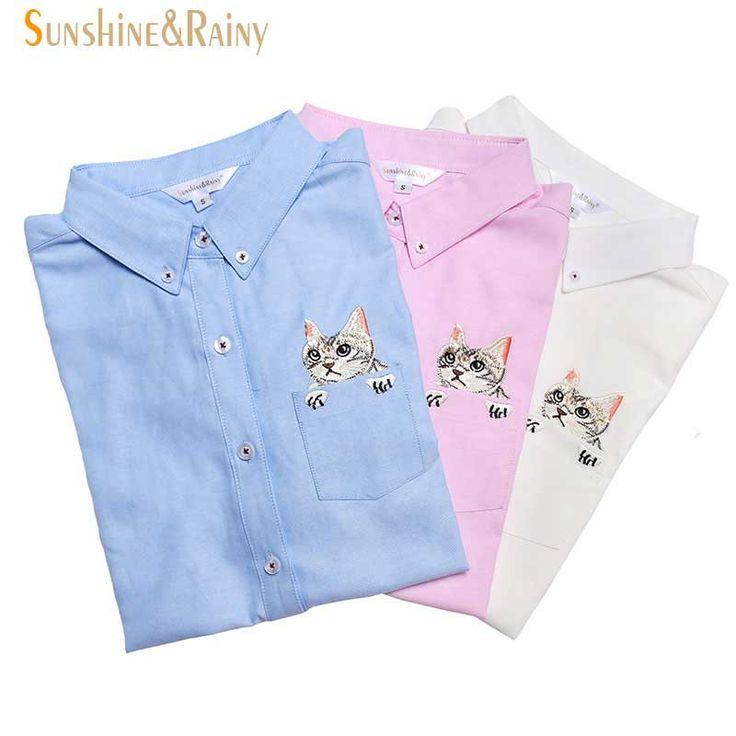 新しい高品質春秋女性ブラウス猫刺繍ロングスリーブワークシャツ女性オフィストップス白シャツ用ビジネス