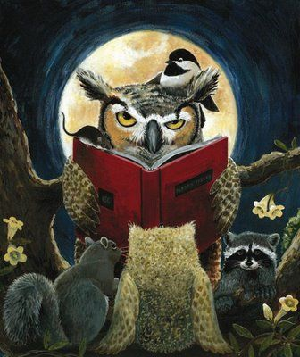 owl reading to a baby owl, a squirrel, a chickadee, & a raccoon, illustration by helen correll
