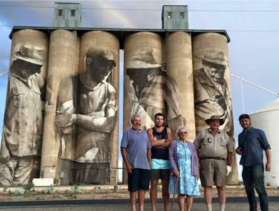 The characters on the Brim Silo - Peter, Sam, Win, Al with Guido. Mikala Hateley on Facebook.