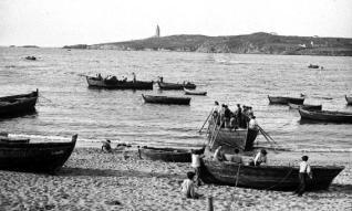 Fotografía de la playa de Riazor en 1904 de José Villar Martelo. / l. o.