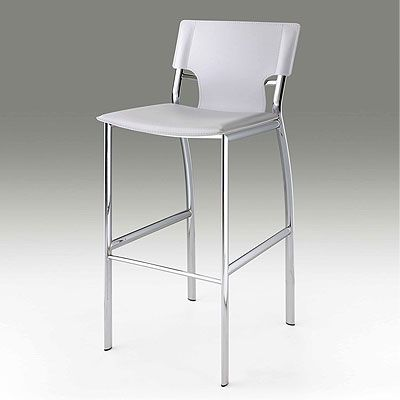 Enthralling Bar Stools White Leather With Modern Style Stool Back Also Stainless Steel Legs From Kitchen Design Ideas And Picture
