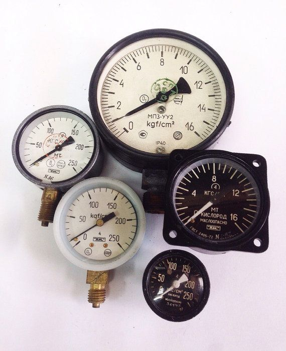 5 Vintage Soviet Pressure Gauges Collectible by SovietHardware