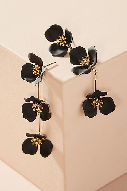 Zenzii Kyra Black Floral Drop Statement Earrings #anthrosale #anthrolove #anthrofave