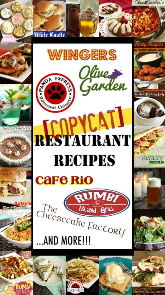 The Ultimate List of Copycat Restaurant Recipes You Can Make at Home from Appetizers to Desserts. You are going to love re-creating dishes that taste just like (if not better than) your favorite restaurants!