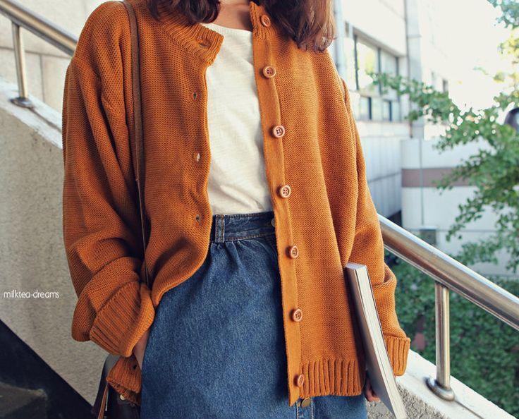 orange cardigan, style, fashion, denim skirt, blouse, simple, autumn