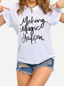 Camiseta letras estampadas -blanco-Spanish SheIn(Sheinside)
