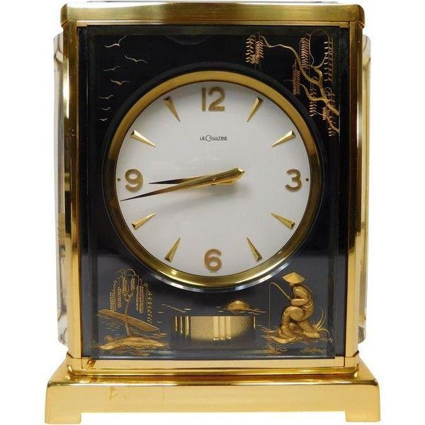 1950's Jaeger LeCoultre Asian Marina Atmos Clock ($4,450) ❤ liked on Polyvore featuring home, home decor, clocks, black home decor, outside signs, jaeger lecoultre clock, outdoor home decor and outside home decor