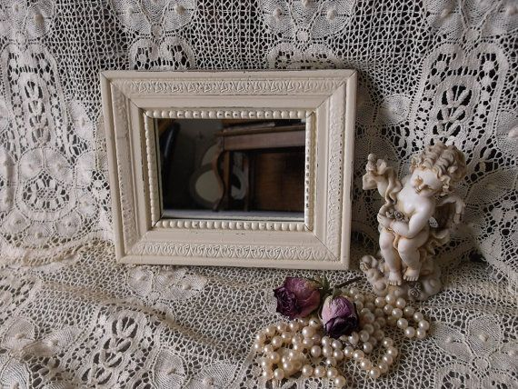 Small wood mirror shabby French country wall by stgabrielsgarden