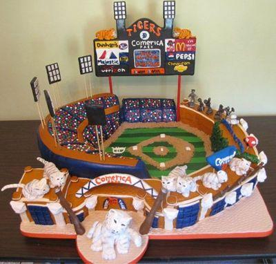 Comerica Park Wedding Cake for a Baseball Themed Wedding in amazing detail  #baseballwedding