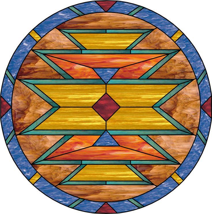 Navajo Southwestern Stained Glass Window Panel - StainedGlassWindows.com