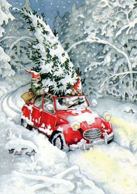 Reminds me of my childhood.  Family would go off to mountains of San  Bernardino, CA, pick out the most perfect shaped Noble Fir, cut it down, attach it to the top of our car and head home to San Diego.  Good times.  Good times. {would make a cute card}