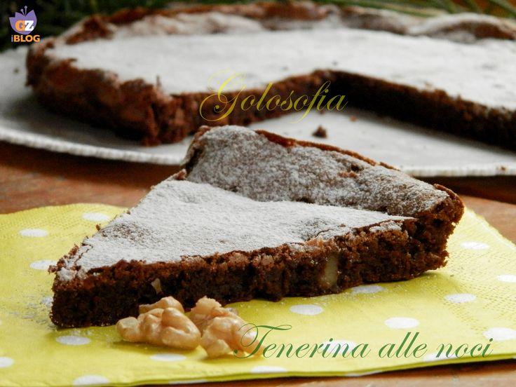 Tenerina alle noci, una torta bassa, morbidissima che è un trionfo di cioccolato! insieme alle noci il connubio è perfetto..;)