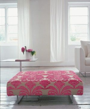 love the pattern and the pop of pink in an all white room