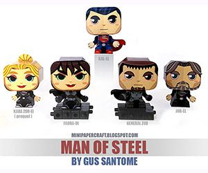 Gus Santome has created these five terrific papercraft character models based on the summer blockbuster Man of Steel. You can create Superman, General Zod, Faora-Ui, Jor-El and Kara Zor-El. Create your own version of these characters in papercraft thanks to Santome, who provides provides plans for you to download and print for free on his Mini Papercraft blog.