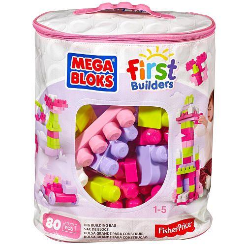 Mega Bloks, sac rose de 80 pièces. 19.99$ Achetez-le: info@laboiteasurprisesdenicolas.ca