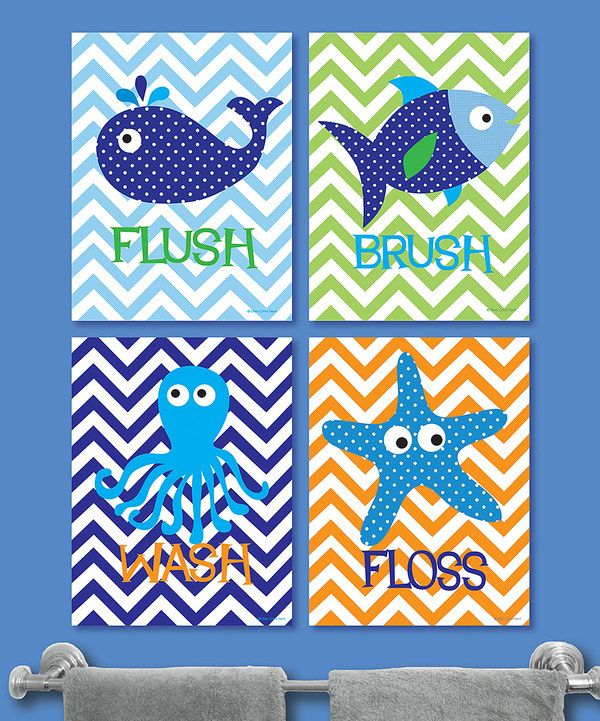 Take a look at this Blue & Green Zigzag Sea Life Bathroom Print Set on zulily today!
