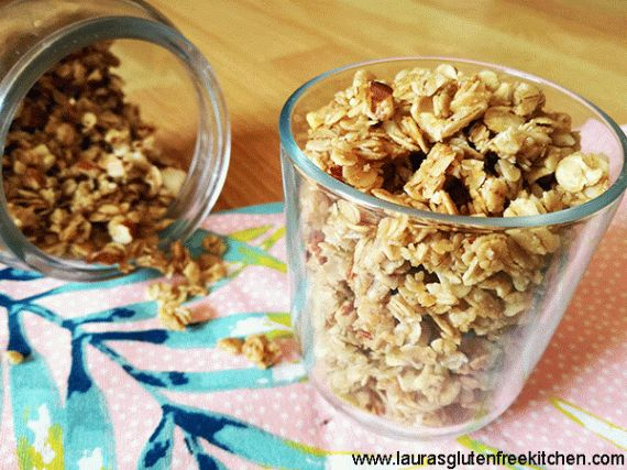 Honey almond granola -- This gluten free honey almond granola is loaded with gluten free oats almonds and cooked in a sweet glaze of honey and coconut oil. It comes together in minutes and the taste is out of this world delicious!