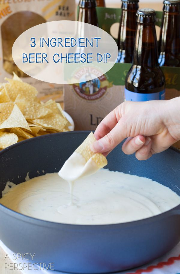 3-Ingredient Beer Cheese Dip - Easy Queso Recipe for #CincodeMayo! #cheese #queso #cheesedip