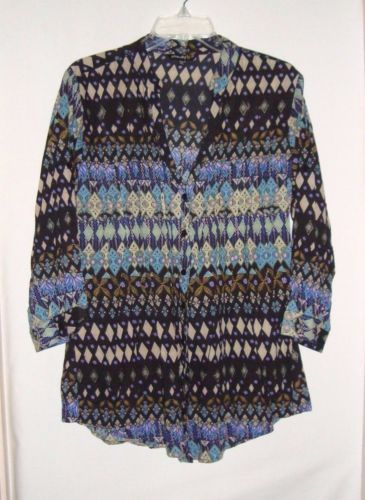 CHAUDRY-KC-Cotton-Button-Front-BOHO-V-Neck-3-4-Sleeve-Womens-Tunic-Size-L
