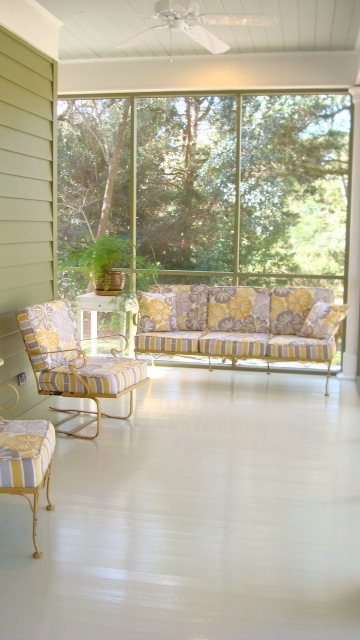 screened in porch. Love the painted floor.