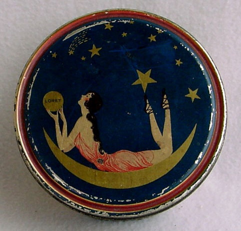 Vintage French Art Deco Loret Flapper Girl Powder Tin Moon Stars Beutebox Canco | eBay