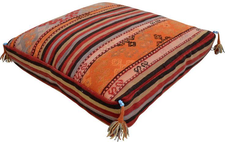 Kilim Rug Floor Cushion Cover Handmade Sitting Cushion Turkish Rug 29″ x 29″ #Handmade #Traditional