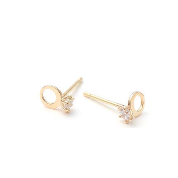 Ring earrings, bridal shower earrings,gold earrings for women, invitation, tiny earrings,minimal earrings,bridal earrings,vtrear-17