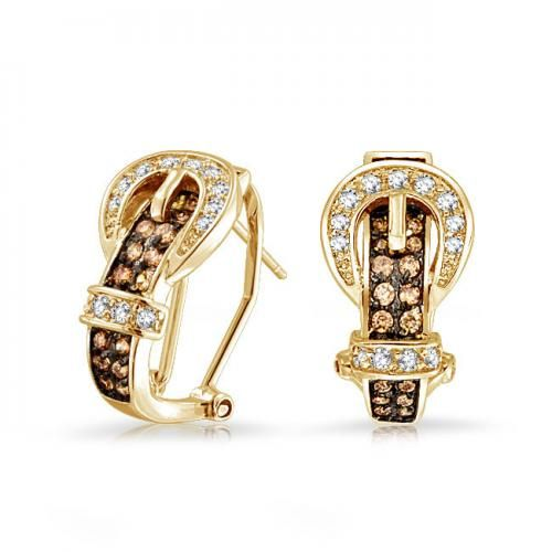 Gold Plated Chocolate CZ Buckle Omega Clip Earrings