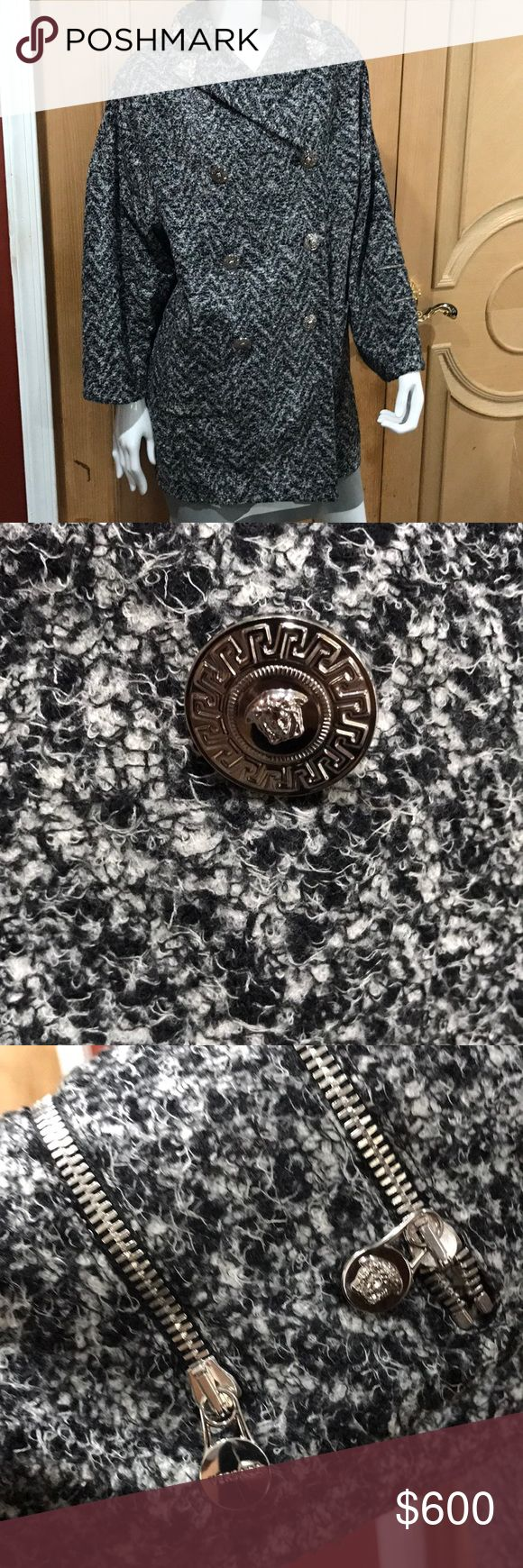Versace Coat Versace black and white tweed coat with silver iconic buttons zipper and charms on arm wide arms front pockets jeweled crystal collar extremely beautiful the perfect car coat size 38 Versace Jackets & Coats