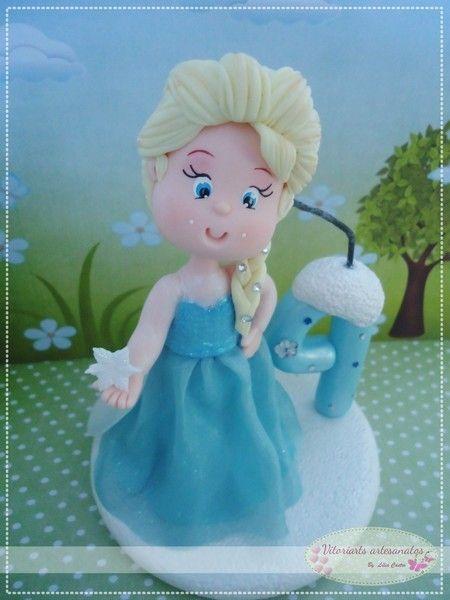 Frozen - Topo para Bolo com Vela