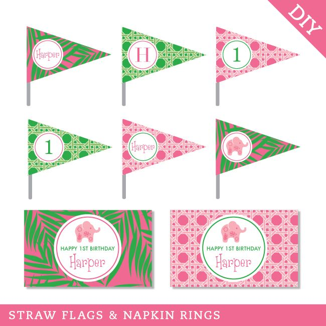 Chickabug - Pink Elephant Party Straw Flags and Napkin Rings (Digital File), $12.00 (http://www.chickabug.com/pink-elephant-party-straw-flags-and-napkin-rings-digital-file/)