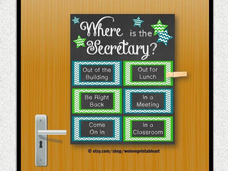 School Secretary Gift Office Gift Door by WeLovePrintableArt