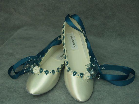 Plat de mariage chaussures bleu sarcelle mic sur Chausson ballerine - TEAL bleu chaussures mariée plates