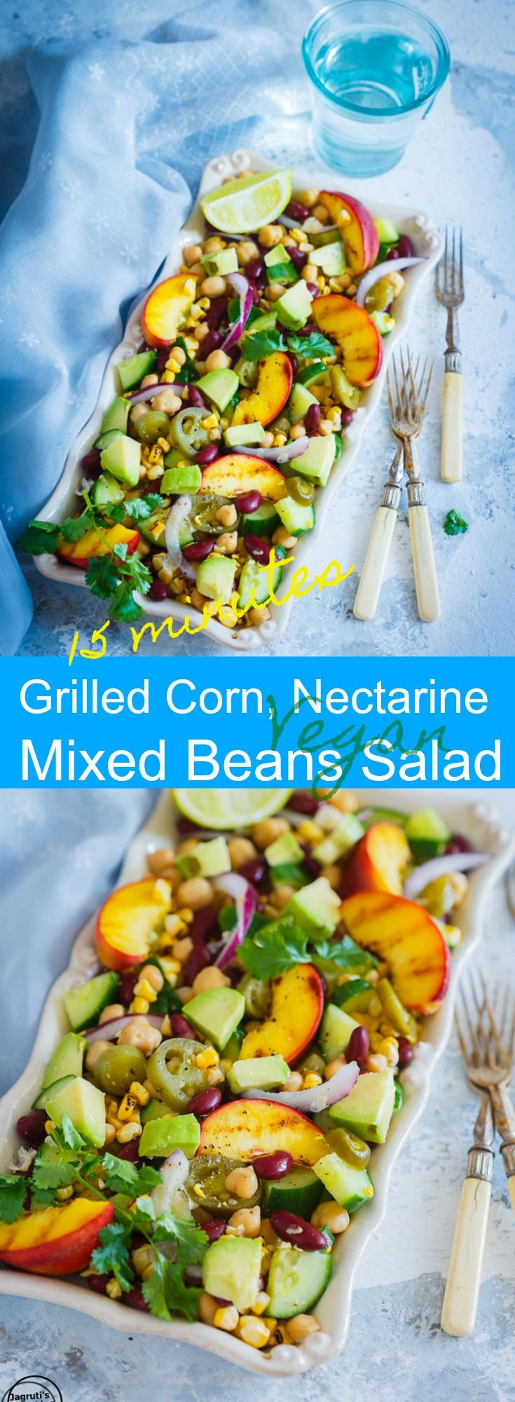 Grilled corn, nectarine and mixed beans salad