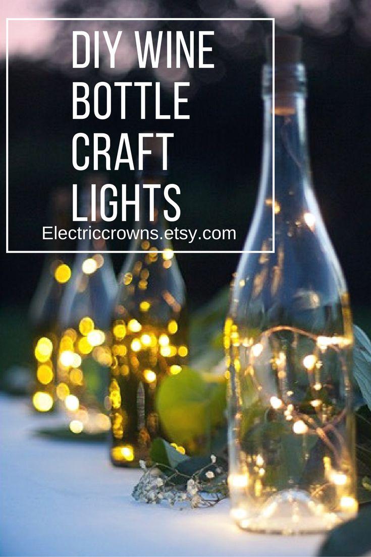 Craft lights for wine bottles - Diy Wine Bottle Craft Lights Battery Is In The Cork Stopper No Drilling Holes
