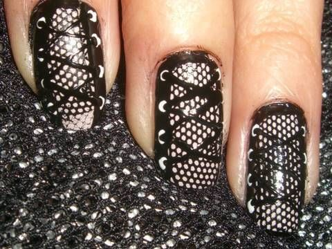 The Coolest Nails Ever! Edgy Corset Laced Nails