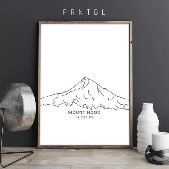 Mount Hood Oregon Pnw Modern Hiking Design Printable Photo Etsy Oregon Decor Online Printing Companies Minimalist Artwork
