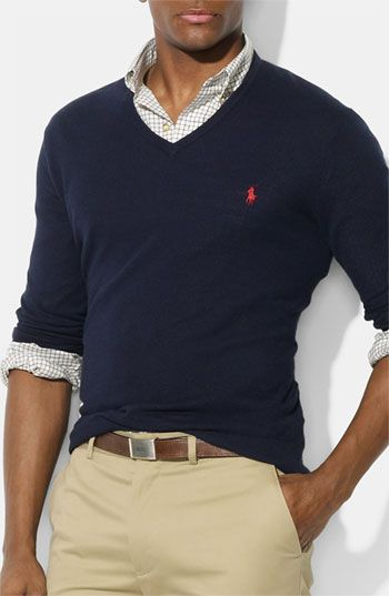 Polo Ralph Lauren V-Neck Cotton & Cashmere Classic Fit Sweater