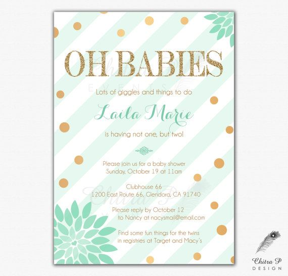 Twins Baby Shower Invitations - Printed or Printable Mint