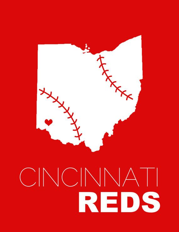 "Still looking for some gifts for friends and family and want to create something custom for them? Visit my Etsy shop! Use the coupon code ""THANKFUL2013"" to receive 25% off of your order.  Cincinnati Reds Baseball Print - 4x6, 5x7, or 8x10"