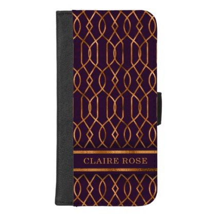 Chic Geometric Purple Gold Lattice Pattern iPhone 8/7 Plus Wallet Case - chic design idea diy elegant beautiful stylish modern exclusive trendy