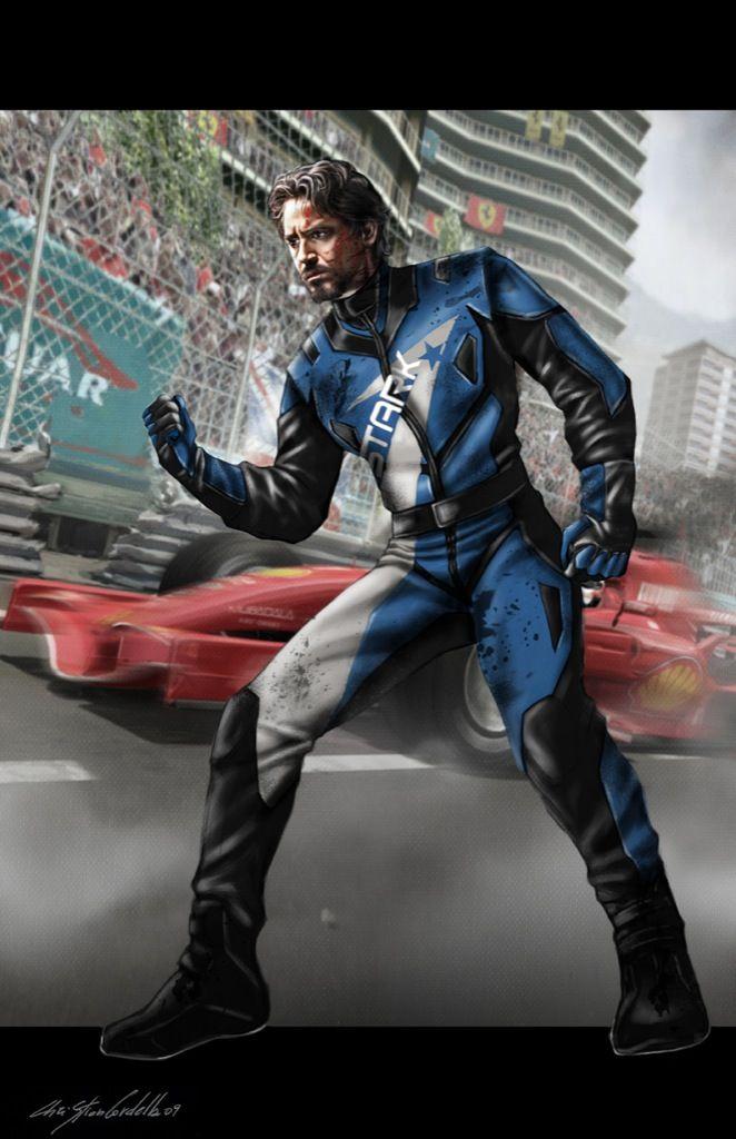"Concept art for Tony Stark in his Stark Industries Monaco Prix racing suit from Marvel's ""Iron Man 2""."