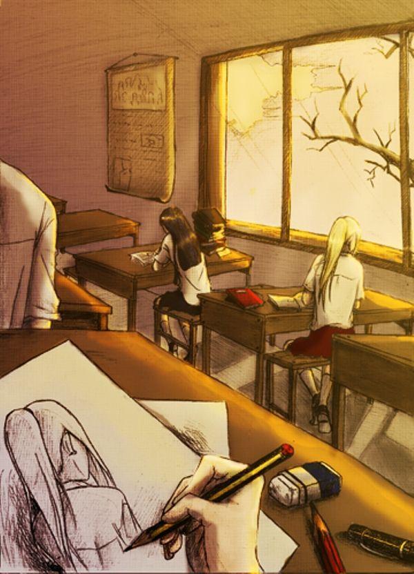 ✮ ANIME ART ✮ anime. . .artist. . .drawing. . .sketchbook. . .pencils. . .classroom. . .cute. . .kawaii