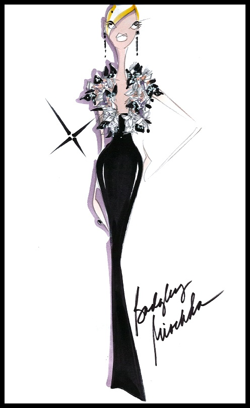 @Badgley Mischka Resort 2013 Look #4 - It's a really simple black strapless column punctuated at the top with an over-the-top, three-dimensional bolero. It's very Gatsby.